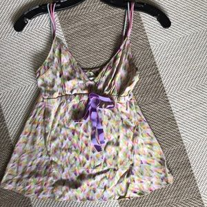 Pretty multi color silk printed cami top from DVF
